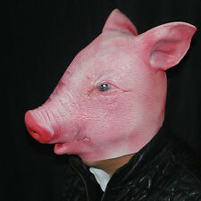 Hot Creepy Pig Head Mask Cosplay Animal Halloween Costume Comedy Theater HF