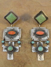 Rita Lee Navajo Sterling Silver Turquoise & Spiny Oyster Cross Earrings