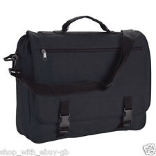 BLACK SHOULDER MESSENGER BAG SATCHEL FOR WORK COLLEGE SCHOOL OFFICE COURIER