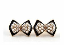 Betsey Johnson Gold Plated Black Enamel White Pearl Tuxedo Bow Stud Earrings