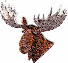 MOOSE HEAD -  IRON ON EMBROIDERED PATCH - ANIMALS - FOREST - HUNTING