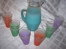 7 PC Vintage Blendo Set Multi-Color Frosted Glasses And Tall Pitcher