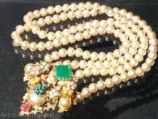 Vntg Chrysophrase Filigree 2 Strand Faux Pearl Necklace Unsigned Miriam Haskell