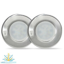 2 X 12V 4 WATT ALUMINIUM SURFACE MOUNTED INTERIOR BOAT/CABIN LED LIGHT & SWITCH