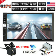 "7"" HD Touch Screen Double 2DIN Car Stereo Player FM Bluetooth Radio Camera 2017"