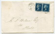 1860 cover to Hull with pair 2d blue pl 8 neatly tied by a London duplex
