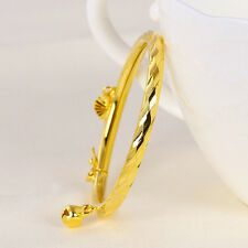 Baby Children's Jewellery 24k Yellow Gold Filled GF Bell Heart Bangle Bracelet