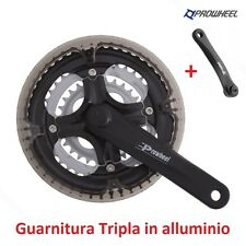 "ANPK - Guarnitura Tripla ""Prowheel"" Alluminio Nero x bici 20-24-26-28 City Bike"