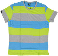 IMPERIOUS Striped T-Shirt Teal Gray Lime Green Stripes Streetwear Mens M-2XL NEW
