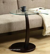 GLASS END TABLE round accent bed side night stand coffee living room wood small