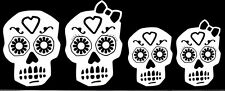 Sugar Skull Decal Family Window Sticker White Skeleton Decal - can change order