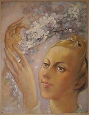 Tableau Huile LUC LAFNET Belge Portrait de Jeune Femme Coiffure Fleurs c.1920