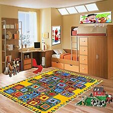 ABC Blocks Kids Area Rug 3' x 5' Children Crayons Carpet Non Skid Gel Backing