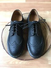 Dr Doc Martens 3989 Black Leather Full Brogue Long Wingtip Shoes Women's 8