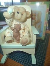 ROCKING CHAIR CREAM  GREEN WITH BOY TEDDY BEAR FIGURINE HOLDING BALL WITH PUPPY