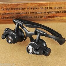 10X 20X LED Binocular Watch Repair Adjustable Headband Glasses Magnifier Loupe
