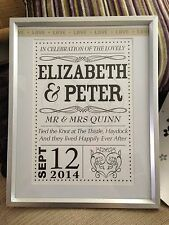 Wedding Personalised Print / WordArt Gift for Marriage Anniversary / Engagement