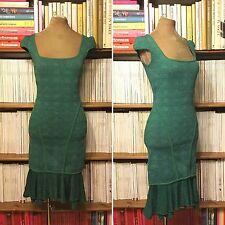ZAC POSEN dress UK8-10 US4-6 green lurex knit fitted knee length wiggle pencil