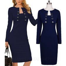 ladies Cardigan Stretchy Knee length Pencil Womens long sleeve Dress Size VANCY