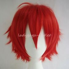 UNISEX Male Female Straight Short Hair Wig Cosplay Full Wigs Brown Yellow Orange