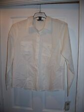 NWT Style & Co Size 18 White Button Down Blouse 100% Cotton Long Sleeve