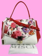 BADGLEY MISCHKA Vanilla Multi Floral Saffiano Leather Satchel Shoulder Bag $398