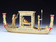 Egyptian Ancient Queen Cleopatra on Nile Boat With Guardians  Statue Figurine
