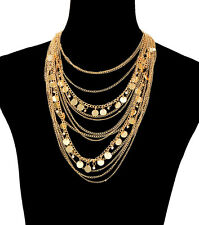 "17"" - 28"" gold layered choker collar bib charm necklace 2"" earrings"