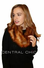 Women's Luxury Faux Fox Fur Snood Infinity Scarf - Soft Fleece Under Lining