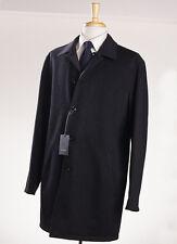 NWT $2495 ERMENEGILDO ZEGNA Charcoal Reversible Wool-Cashmere Coat 44 R (Eu 54)