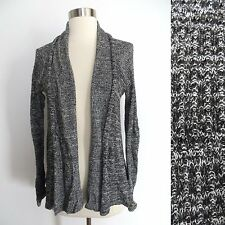 Urban Outfitters size MEDIUM black white gray marled knit open cardigan sweater