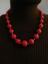 "A Stylish Silver-tone & Multi-Size Round Red Plastic Bead Necklace 22"" Long."