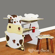 KIDS Toddlers Wooden COW TABLE CHAIR DESK SET Black Board DRAWING STAND 2 WAY
