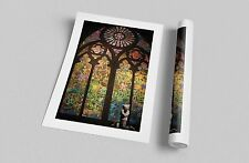 """Banksy Stained Glass Cathedral. Archival Canvas Print 30""""x20"""""""