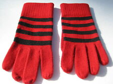 SHEER ENERGY LADIES RED & BLACK STRIPPED STRETCH WINTER GLOVES SIZE ONE SIZE