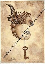 "Amy Brown Print 5""x7"" Hedgehog Baby Skeleton Key Critter IV Flying Winged Wings"