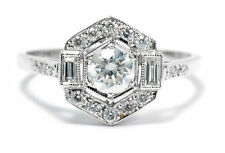 Art Deco Estilo Anillo De Diamante Platino 0.90ct