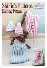 KNITTING PATTERN for BABY COCOON, PAPOOSE preemie, 0-3, 3-6mth, #221 By ShiFio