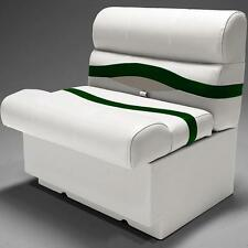 "Premium 28"" Pontoon Boat Seats In Ivory, Green and Tan"