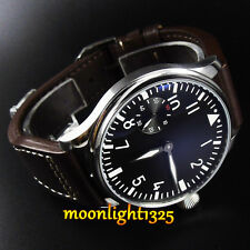 44mm parnis black dial seagull 3600 hand winding 6497 mechanical mens watch