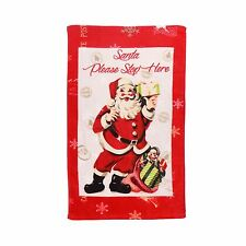 CHRISTMAS VINTAGE SANTA PRESENTS RED CREAM 100% COTTON BATH TOWEL 70 X 120CM