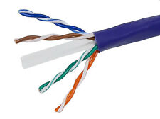 1000FT 23AWG Cat6 500MHz UTP Solid CMR Bulk Ethernet Copper Cable - Purple