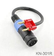 1ft Dual Banana Red Plug to Speakon Female Type Speaker/Amplifier Jumper Cable