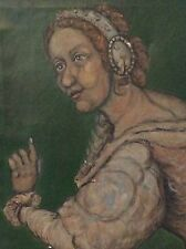 ORIGINAL OLD EUROPEAN OIL CUBIST PAINTING UNSIGNED /DALI ,PICASSO INFLUENCE