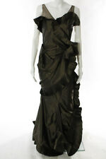 Christian Dior Brown Pleated Trim Tiered Sleeveless Full Length Gown Size 4