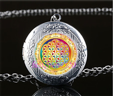Gold Flower of Life Cabochon Glass Tibet Silver Locket Pendant Necklace#OP48