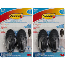 4pk Command 3M Bath Wall Hooks With Hanging Strips Secure Hold Shower & Wet Area