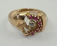 ANTIQUE 30's SOLID 14K ROSE GOLD COCKTAIL RING w/ DIAMOND & OLD MINE RUBY sz 8