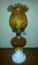 Vintage Amber Glass Hurricane Lamp With Milk Glass Base. Made In Italy.