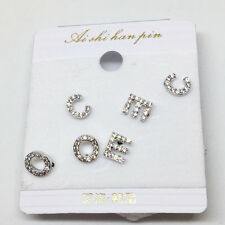 3Pairs Silver Ear Stud Alloy C E O letter Cubic Zirconia Shape Earrings Set Gift